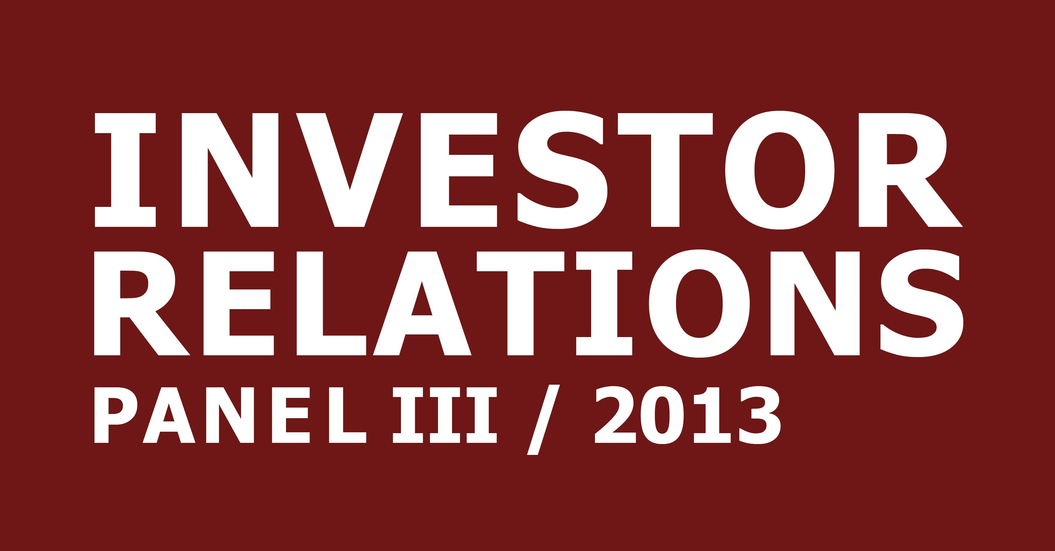 cometis AG Investor Relations-Panel III 2013