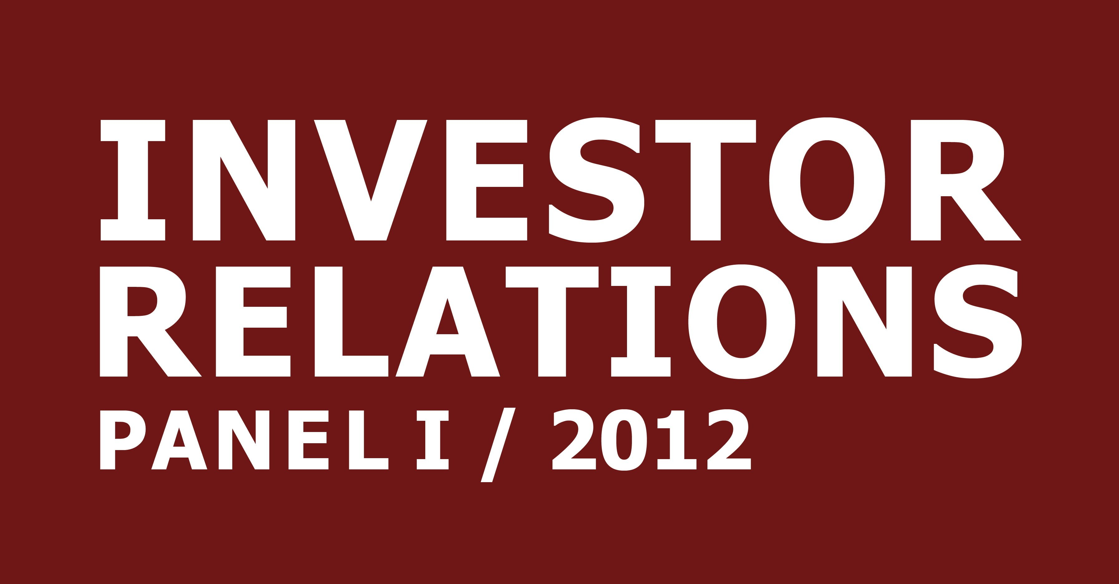 cometis AG Investor Relations-Panel I 2012