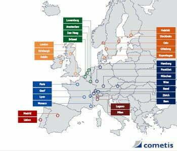 Karte: Europäische Städte für Investoren Roadshows