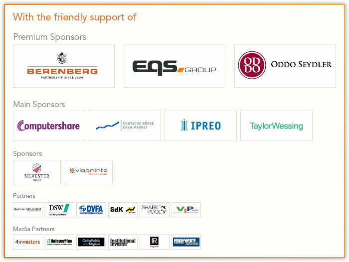 Die Sponsoren der IR Konferenz 2018