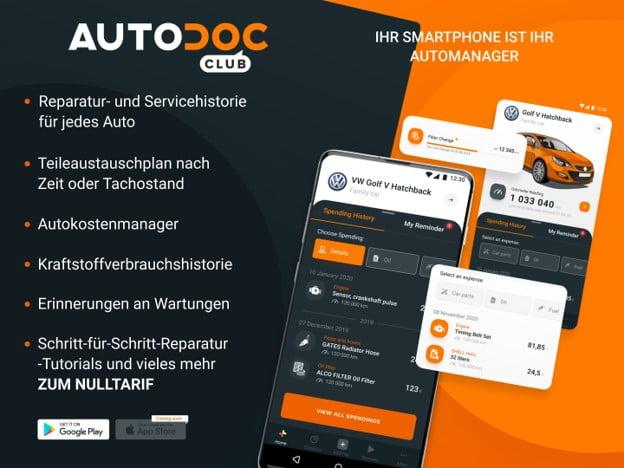 Mit der neuen Autodoc Club App kann jeder Fahrzeugbesitzer überall mit seinem mobilen Endgerät auf seine individuellen Fahrzeug- und Servicedaten zugreifen.